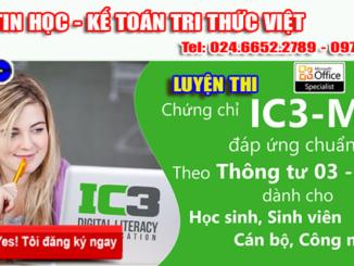 luyen thi ic3-mos tại Hà Nội - Trung tâm tin học Tri Thức Việt